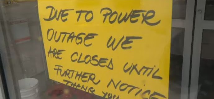 closed due to utility power outage